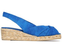 Twisted canvas espadrille wedge sandals