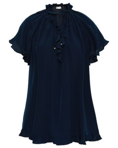 Ruffle-trimmed Silk Blouse Navy Size 0