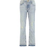 The Cropped distressed low-rise boyfriend jeans