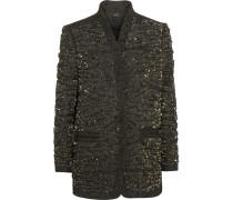 Embellished Tweed Jacket Dunkelgrün