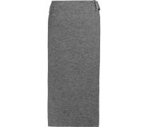 Wrap-effect Wool-blend Midi Skirt Grau