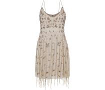 Taken Fringed Embellished Chiffon Mini Slip Dress