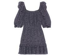 Woman Ruffled Metallic Printed Cotton-blend Mini Dress Navy