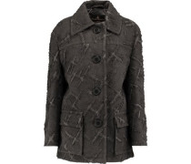 Oversized flocked twill coat