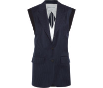Pinstriped Wool-twill Vest Navy