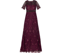 Embroidered Tulle And Chiffon Gown Plaume