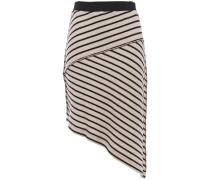 Asymmetric Striped Ribbed Wool-blend Skirt