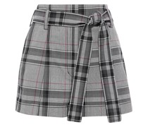 Belted Prince Of Wales Checked Jacquard Shorts