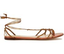 Sandalen aus Geflochtenem Metallic-leder