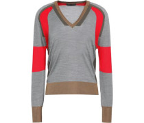 Holmes color-block ribbed silk sweater