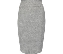 Ribbed Stretch-jersey Skirt Grau