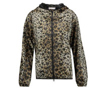 Leopard-print shell hooded jacket