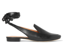 Bena Lace-up Textured-leather Loafers Schwarz