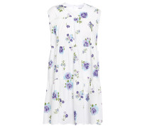 Woman Gathered Floral-print Cotton-poplin Mini Dress White