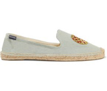 Embroidered chambray espadrilles