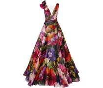 Appliquéd Tulle-trimmed Floral-print Silk-organza Gown