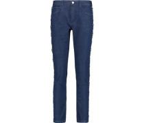 Mid-rise macramé lace-trimmed slim-leg jeans