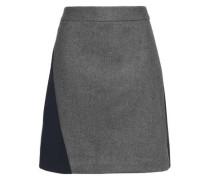 Wool-blend felt and crepe mini skirt