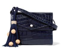 Eloise Croc-effect Glossed-leather Shoulder Bag Königsblau