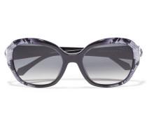 Round-frame Snake-print Acetate Sunglasses Schwarz
