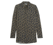 FloralPrint Crepe Shirt Navy