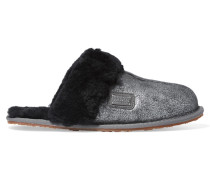 Metallic Shearling Slippers Silber