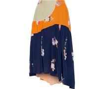 Lilja Asymmetric Patchwork Floral-print Crepe De Chine Skirt