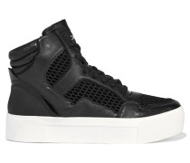 Bosley Leather And Mesh High-top Sneakers Schwarz