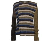 Metallic Striped Ribbed-knit Sweater