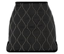 Velvet-trimmed Embellished Satin Mini Skirt Schwarz