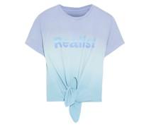 + Peter Saville Knotted Printed Dégradé Cotton-jersey T-shirt