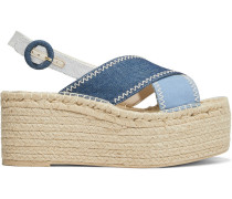Fayen Color-block Denim Espadrille Platform Sandals