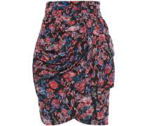 Sway Draped Floral-print Silk-crepe Mini Skirt