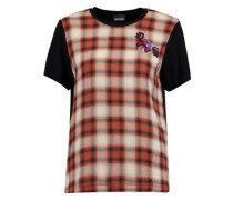 Appliquéd checked wool-twill and stretch-jersey T-shirt
