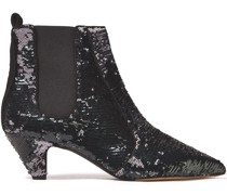 Effie Sequined Leather Ankle Boots