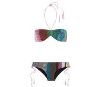 Chain-embellished metallic crochet-knit bikini
