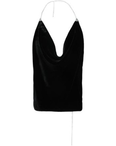 Woman Chain-trimmed Velvet Halterneck Top Black