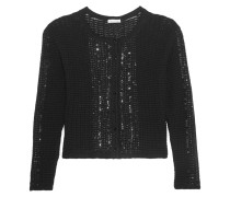 Sequin-embellished Wool And Cotton-blend Cardigan Schwarz