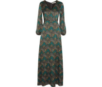 Santina printed silk-cloqué maxi dress