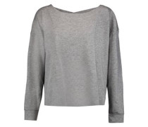 Marled stretch cotton and modal-blend top