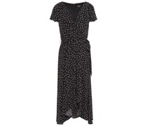 Wrap-effect Polka-dot Stretch-jersey Midi Dress