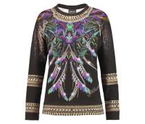 Printed Cotton-jersey Sweater Schwarz