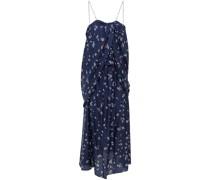 Getafe Draped Floral-print Silk-satin Jacquard Midi Dress