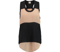 Paneled Modal-jersey And Crepe Tank Schwarz