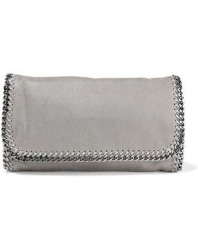 Falabella Faux Brushed-leather Clutch Gray Size --