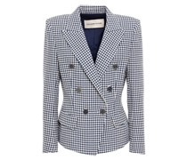 Double-breasted Houndstooth Cotton-blend Jacquard Blazer
