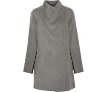Two-tone Brushed And Knitted Wool-blend Coat Grau