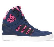 Zestra Suede And Printed Neoprene High-top Sneakers Navy