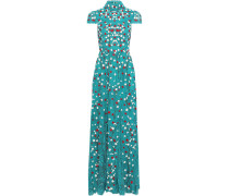 Arwen Cutout Embroidered Lace Turtleneck Gown