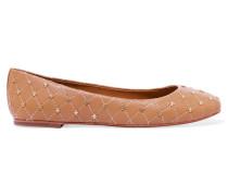 Embellished Leather Ballet Flats Braun